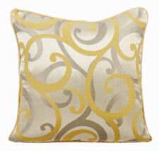 Decorative Toss Pillow 14x14 in Mustard Yellow, Jacquard - Scrolling All The Way