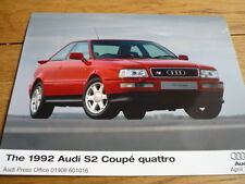 "AUDI S2 quattro 1992 stampa foto ""BROCHURE"". JM"