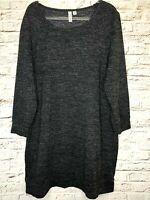 Women's Sweater Plus Size 2X Oversize Long Tunic Black Gray Marled 039-1120.9