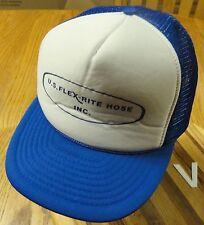 VINTAGE U.S. FLEX-RITE HOSE INC. SNAPBACK ADJUSTABLE HAT BLUE & WHITE GOOD COND