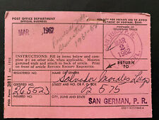 Puerto Rico 1962, USPS FORM 3811, Salvador Morales San German