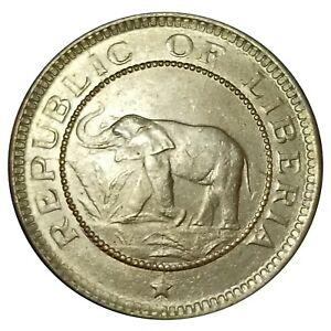 Unc 1937 Republic of Liberia ½ Cent Elephant Coin KM# 10