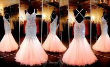 2018 Coral Mermaid Crystal Prom Dresses Beaded Sequin Long Evening Formal Gown