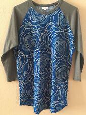 LuLaRoe Randy Top Shirt Baseball Tee Size Large Royal Blue Cabbage Roses