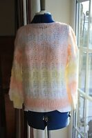 New size 10-12 chest 36in hand knit slash neck lace pattern orange multi jumper