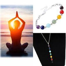 Women Yoga Chakra Reiki Healing Balance 7 Beads Gemstone Bracelets+ Necklace Set