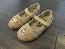 Michael Kors Faye 2 Strap Jaquard Camel shoes new toddlers size 5 flats