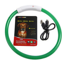 USB Rechargeable Waterproof  Dog Collar LED Flashing Light Up Safety Belt Green