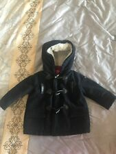 Authentic Armani Baby Boy Wool Duffle Coat With Hood In Navy Blue 12 Months