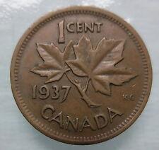 1937 CANADA 1¢ CIRCULATED KING GEORGE VI COPPER PENNY