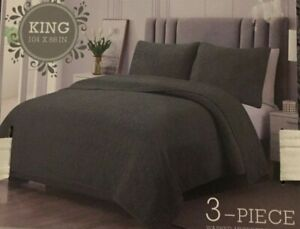 Amelia Collection Marlon Charcoal 3 Piece King Quilt Set NWT