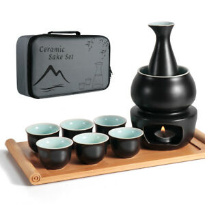 10in1 Ceramic Sake Set w/ Warmer Pot Bamboo Tray Stovetop Hot Saki Drink Bottle