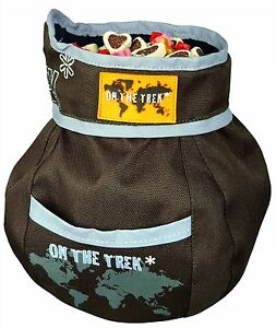 Dog Activity Snack bag On the Trek With Reflective Piping Brown 11 × 16 cm NEW