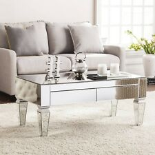 Contemporary Mirrored Rectangular Coffee Table Drawer Living Room Decor Cocktail