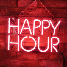 "14""x8""Happy Hour Neon Sign Light Beer Bar Pub Party Wall Decor Visual Artwork"