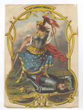 """1880's-1890's COLUMBIA CONQUERS KING IN ARMOR 9 3/8"""" x 6 1/2"""" VICTORIAN DIECUT"""