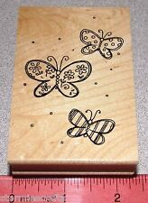 Butterflies Rubber Stamp Wood Mounted Polka Dots Flowers Strips Butterfly Design