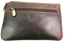 New Premium Quality Brown Leather Coin Pouch Key Holder Credit Card Holder Boxed