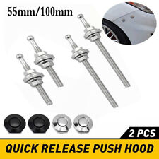 2pcs Push Button Quick Release Hood Bonnet Pins Lock Clip Car Bumper Latch Kits