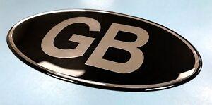GB Oval 75mm x 43mm Sticker/Decal - Retro - CHROME on BLACK- GLOSS DOMED GEL