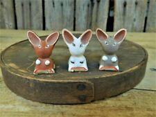 3 Rare Miniature Folk Art Pottery Bunny Rabbits 1930's Artist signed