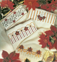 Poinsettias Fingertip Towel Borders Cross Stitch Pattern from a magazine Holiday