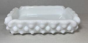 Vintage Fenton Milk Glass Hobnail Rectangle Ashtray Trinket Dish