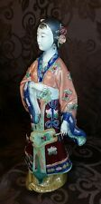 ANTIQUE VINTAGE Chinese Porcelain GEISHA LADY Girl Figurine statue w/fan SIGNED