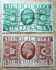 Stamp- GV Half Penny Silver Jubilee Stamps Lot of 2 (Used)