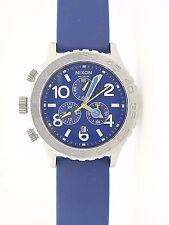 Nixon 42-20 Chrono All Black Watch Blue Chronograph Rubber Band #8731