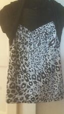 GEORGE LEOPARD ANIMALS SEXY TOP BLOUSE TUNIC BLACK & GREY  SIZE 10