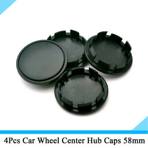 4Pcs Car Accessories Wheel Center Hub Caps Decorative Cover 58mm/53mm Black ABS