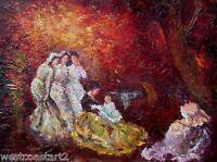 Italo Giordani Oil Painting La Visite Paris 1948 Listed Italian Impressionist