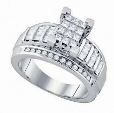 New Ladies White Gold Princess Cut Diamond Wedding Engagement Band Ring .90 Ct