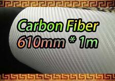【3D CARBON FIBER】White Vehicle Wrap Vinyl Sheet Sticker Film 750mm x 1000mm