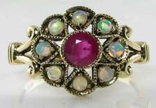 CLASS 9K 9CT GOLD VINTAGE INS RUBY &  OPAL SUN MOON STAR RING FREE RESIZE
