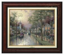 Thomas Kinkade - Hometown Morning – Canvas Classic (Burl Frame)