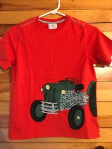 Hanna Andersson Tractor Appliqué Shirt Boys Red Top EUC Size 140 10