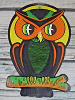 Vintage Beistle Halloween Die Cut Owl Yellow Moon Decoration
