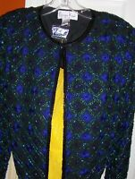 Christmas Gift: 100% Blue Green Black Silk Embroidered Blouse Sequined L Kazar