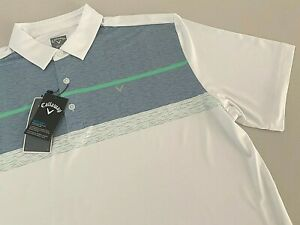 NWT Callaway Men Polo Shirt White Golf Tennis Logo Short Sleeve Opti-Dri Large