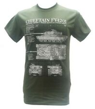 FV4201 Chieftain British Main Battle Tank Military T Shirt With Blueprint Design