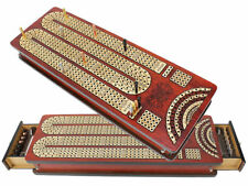 Continuous Cribbage Board with Drawer, Inlaid 4 Tracks & Place to Mark Won Games