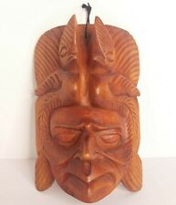 South American Tribal Head Wood Hand Carved Wall Hanging Art Native Decorative