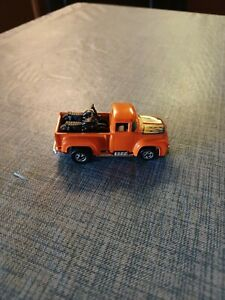 1973 Hot Wheels Orange Hi Tail Hauler with Flames Pick Up Truck Motorcycles