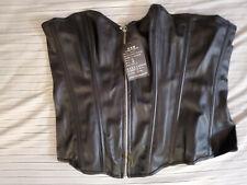 New Black Bslingerie Women's Faux Leather Zipper Front Bustier Corset Top XXL