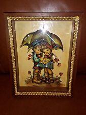 Vintage 3D Children Under Umbrella Print, Evans, Hummel, Double Framed Box