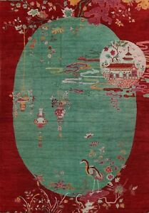 Vegetable Dye Art Deco Chinese Green Oriental Area Rug Wool Hand-knotted 10'x14'