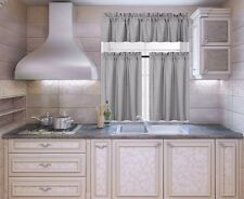 3-PC Blackout Insulated Kitchen Curtain Set Rod Pocket Light Blocking Drapes  K3