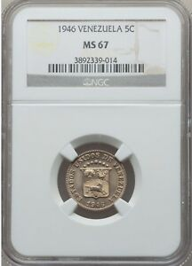 1946 Venezuela 5 Centimos, NGC MS 67, Superb, None Finer at PCGS & NGC